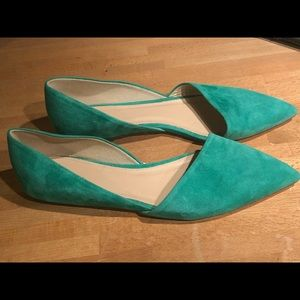J. Crew Green Suede D'orsay Flats - Worn once.